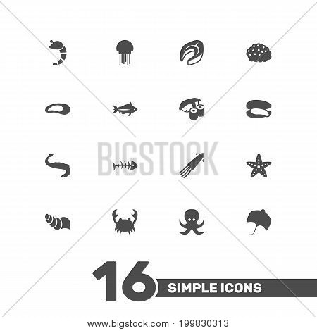 Collection Of Devilfish, Japanese Roll, Remains And Other Elements.  Set Of 16 Seafood Icons Set.