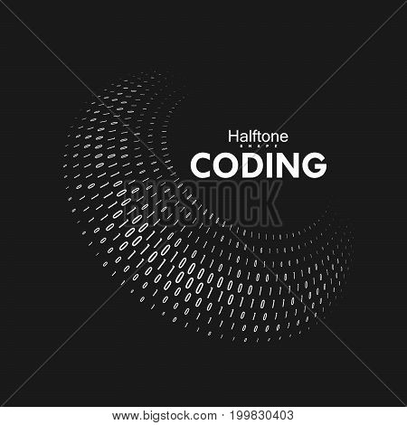 Curved binary code. 3d spherical shape with numbers 1, 0. Vector abstract technology illustration. Dynamic elements for design. Coding, cryptography, programming concept. Software development logo