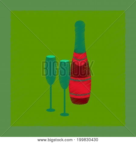 flat shading style icon of Champagne bottle and glasses
