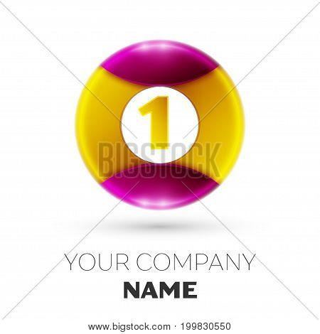 Realistic Number one vector logo symbol in the colorful circle on white background. Vector template for your design