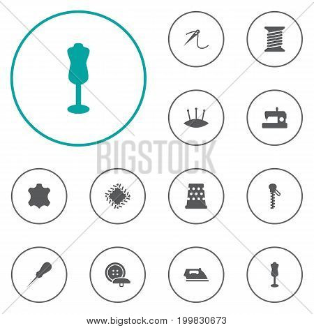 Collection Of Spool, Pins, Machine And Other Elements.  Set Of 12 Stitch Icons Set.