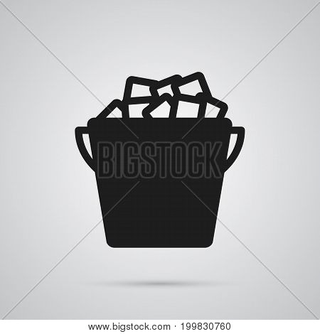Isolated Ice Bucket Icon Symbol On Clean Background
