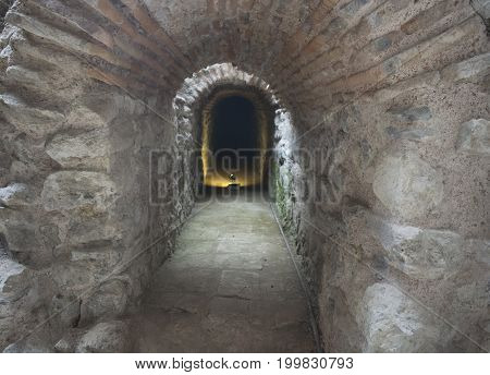 The end looks dark tunnel. Tunnel of a historic building