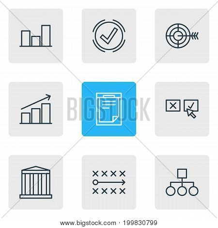 Editable Pack Of File, Goal, Recision And Other Elements.  Vector Illustration Of 9 Trade Icons.