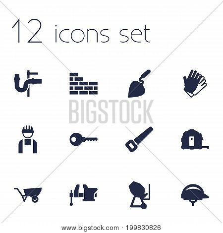 Collection Of Pipeline, Hardhat, Pushcart And Other Elements.  Set Of 12 Construction Icons Set.