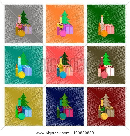 assembly of flat shading style illustration Christmas tree champagne