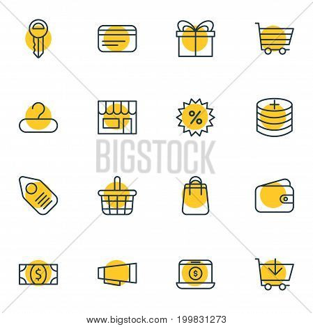 Editable Pack Of Advertising, Market, Payment And Other Elements.  Vector Illustration Of 16 Trading Icons.