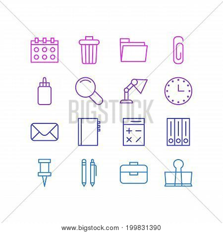 Editable Pack Of Portfolio, Watch, Textbook And Other Elements.  Vector Illustration Of 16 Instruments Icons.