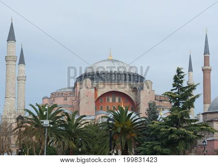 Hagia Sophia Mosque and minarets. A historical museum in Istanbul.