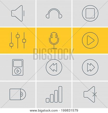 Editable Pack Of Mike, Stabilizer, Compact Disk And Other Elements.  Vector Illustration Of 12 Melody Icons.