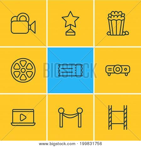 Editable Pack Of Reward, Monitor, Snack And Other Elements.  Vector Illustration Of 9 Movie Icons.