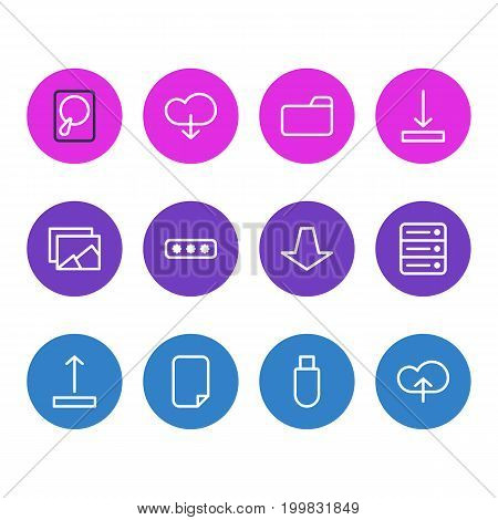 Editable Pack Of Flash Drive, Hdd, Cloud And Other Elements.  Vector Illustration Of 12 Storage Icons.