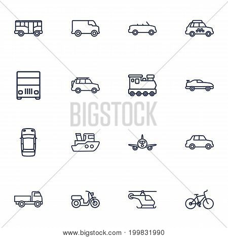 Collection Of Airplane, Suv, Bike And Other Elements.  Set Of 16 Shipping Outline Icons Set.