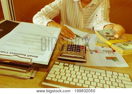 Business loans from a bank employee. finance concept. woman holding stack of dollars - Retro color