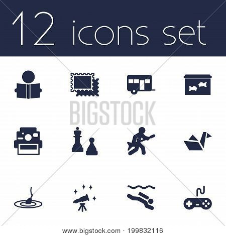 Collection Of Collecting, Learning, Rod And Other Elements.  Set Of 12 Entertainment Icons Set.