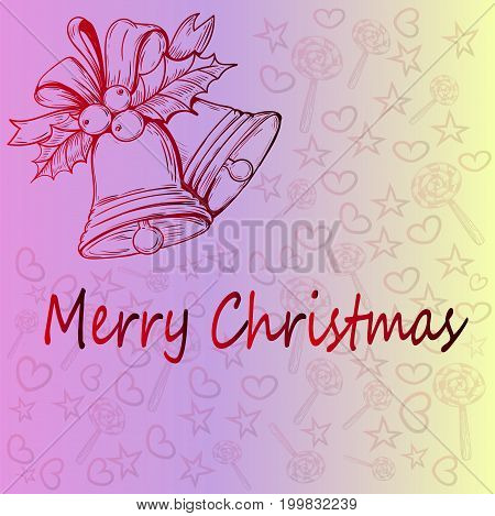 Christmas bell and a beautiful thematic Christmas pattern. Idea for Christmas gift wrapping