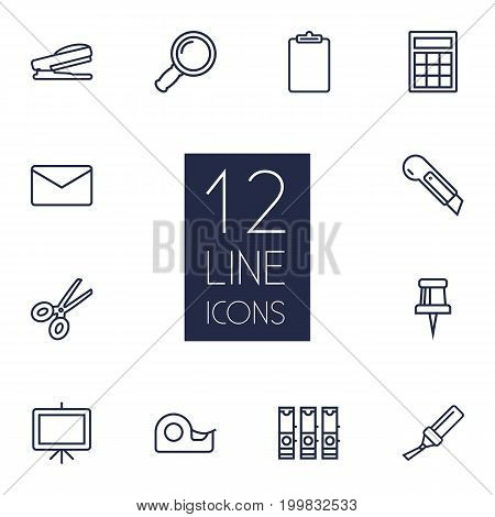 Collection Of Scissors, Mail, Whiteboard And Other Elements.  Set Of 12 Stationery Outline Icons Set.