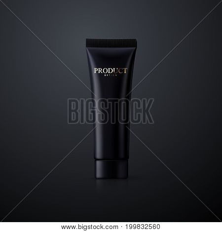 Cosmetic packaging design. Black cream tube. 3d realistic vector illustration. Cosmetics mockup for branding. Beauty makeup product