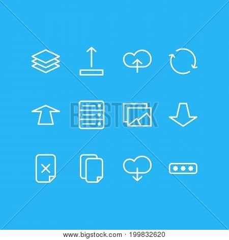 Editable Pack Of Arrow Up, Parole, Gallery And Other Elements.  Vector Illustration Of 12 Archive Icons.