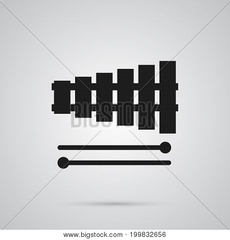 Vector Percussion Element In Trendy Style.  Isolated Xylophone Icon Symbol On Clean Background.