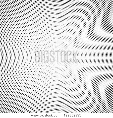Halftone abstract background with black dots on white backdrop. Geometric graphic element.