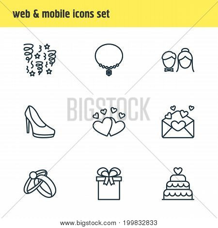 Editable Pack Of Couple, Love, Sandal Elements.  Vector Illustration Of 9 Wedding Icons.