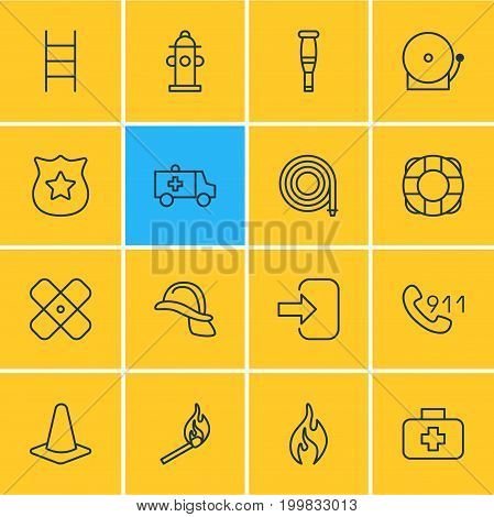 Editable Pack Of Stairs, Hosepipe, Spike And Other Elements.  Vector Illustration Of 16 Extra Icons.
