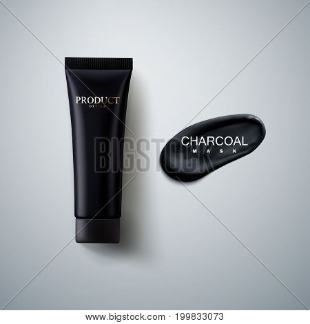 Charcoal facial mask cosmetic packaging design. Black cream tube with charcoal smear stroke. 3d realistic vector illustration. Cosmetics mockup for branding. Beauty skincare product