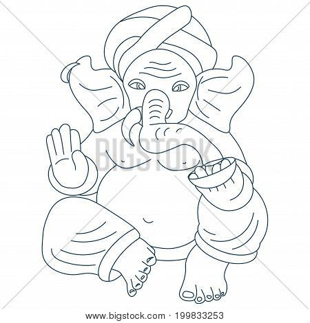 Vector line art or linear illustration of Hindu god lord Ganesha also known as Ganapati Vinayaka and Binayak. Also could be used as Ganesha illustration in tattoo style.