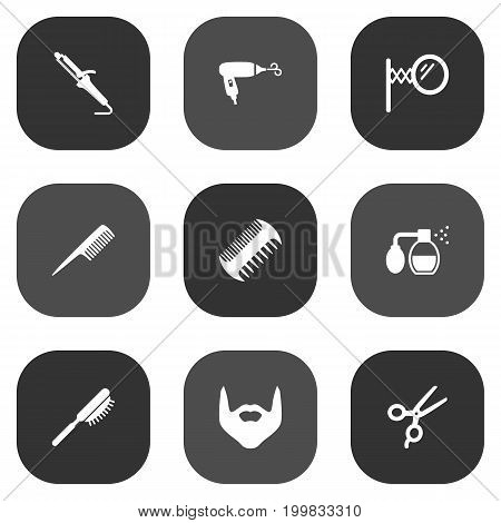 Collection Of Instrument, Blow-Dryer, Looking-Glass And Other Elements.  Set Of 9 Barber Icons Set.