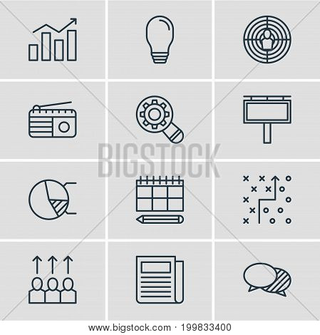Editable Pack Of Daily Press, Aiming, Schedule And Other Elements.  Vector Illustration Of 12 Advertising Icons.