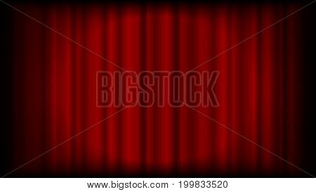 Vector red curtain background from theatre or ceremony with light in the centre