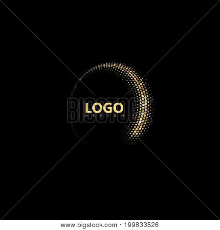 Golden mosaic 3d curved shape. Vector halftone glittering stream. Dynamic elements for logo design. Applicable for web and print design