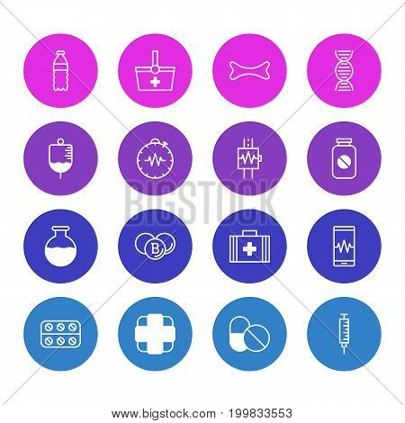 Editable Pack Of Plastic Bottle, Pharmaceutical, Phone Monitor And Other Elements.  Vector Illustration Of 16 Medicine Icons.