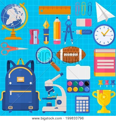 Back to school. Bag pupil or student. Training accessories pencils, pens, notebooks, ruler, stationery textbooks Vector flat illustration