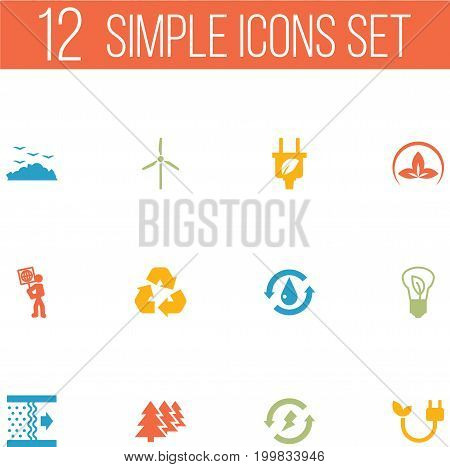 Collection Of Volunteer, Energy, Treatment And Other Elements.  Set Of 12 Ecology Icons Set.