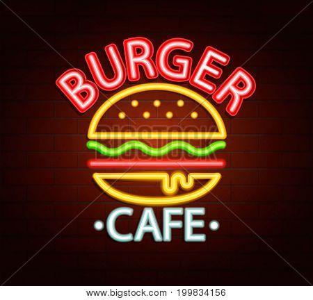 Neon sign of burger cafe, bright signboard, light banner. Burger cafe logo, emblem and symbol. Vector illustration.