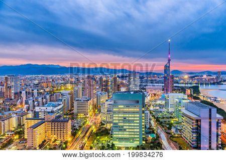 Fukuoka, Japan skyline and tower.