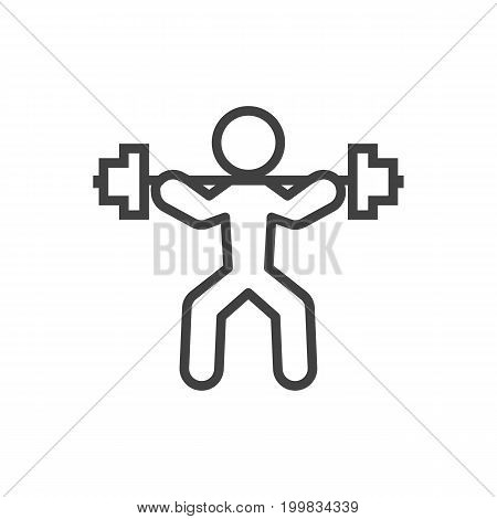 Vector Power-Lifting  Element In Trendy Style.  Isolated Weightlifting Outline Symbol On Clean Background.