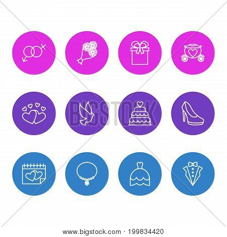 Editable Pack Of Jewelry, Wedding Gown, Chariot And Other Elements.  Vector Illustration Of 12 Marriage Icons.