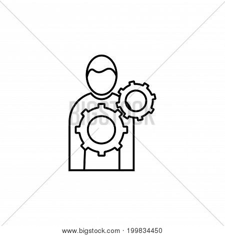 business management man with tools vector icon