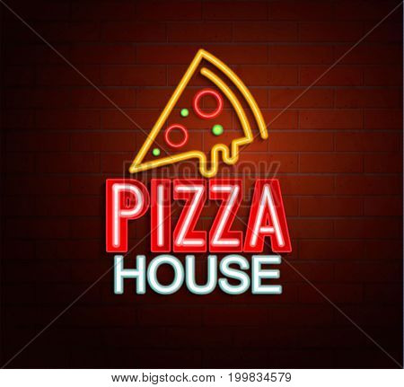 Neon sign of pizza house, bright signboard, light banner. Pizza house logo, emblem and symbol. Vector illustration.