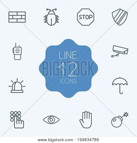 Collection Of Vision, Protection, Keypad And Other Elements.  Set Of 12 Security Outline Icons Set.