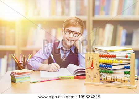 Student Child in School Kid Boy Learning Mathematics in Classroom Elementary Education