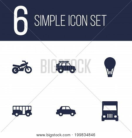 Collection Of Motorbike, Truck, Hatchback And Other Elements.  Set Of 6 Traffic Icons Set.