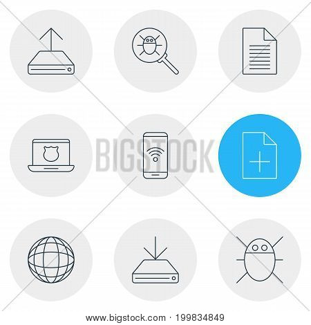 Editable Pack Of Document Adding, Secure Laptop, Hdd Sync And Other Elements.  Vector Illustration Of 9 Network Icons.