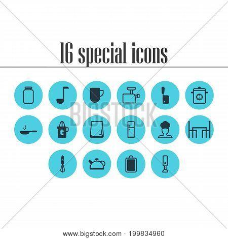 Editable Pack Of Dinner Table, Handmixer, Butcher Knife Elements.  Vector Illustration Of 16 Restaurant Icons.