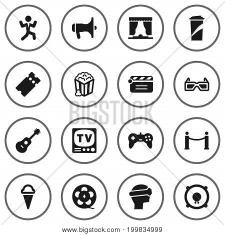 Collection Of Pass, Loudspeakers, Acoustic And Other Elements.  Set Of 16 Entertainment Icons Set.