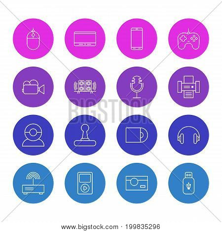 Editable Pack Of Usb Card, Modem, Smartphone And Other Elements.  Vector Illustration Of 16 Gadget Icons.