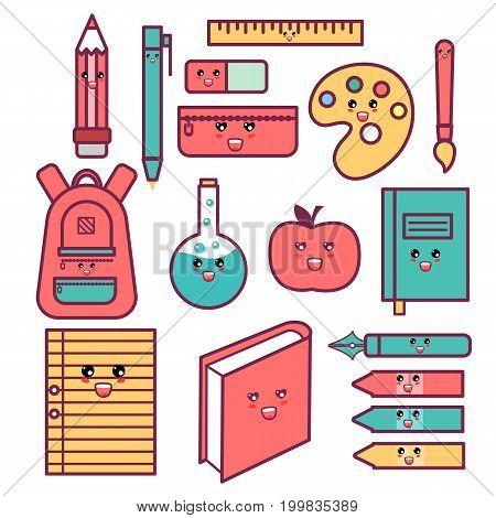 Kawaii Cute Happy School Supplies set. Eps10
